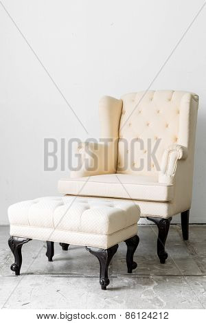 beige Retro Classic fabric style chair