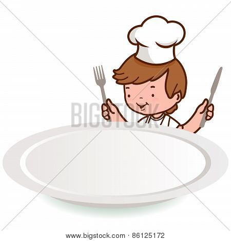 Chef boy looking over an empty plate