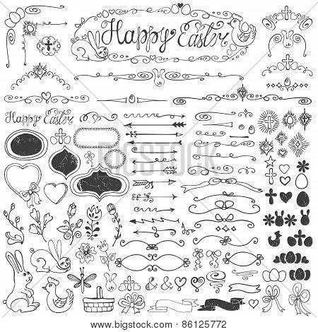 Easter.Doodle borders,egg,badges,ribbons,floral decor element