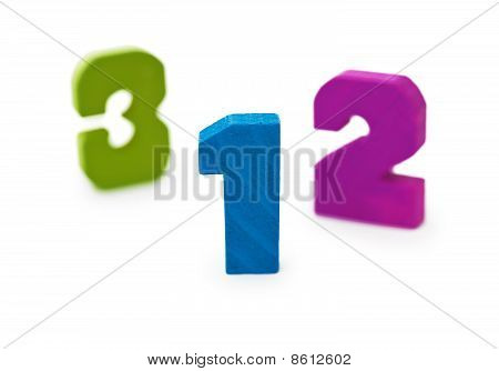 Wooden Toy Figures On White Background