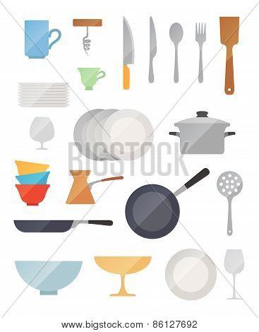 Dish flat vector set