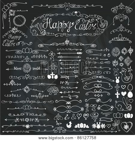 Doodle border,arrows,decor element.Easter.Chalkboard