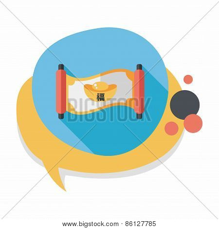 Chinese New Year Flat Icon With Long Shadow,eps10, Gold Ingot Calligraphy Scrolls Means