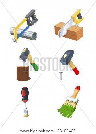 Tools. Set of vector icon. Eps10 vector illustration. Isolated on white background