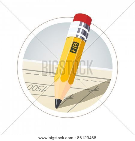 Pencil with eraser for drawing. Eps10 vector illustration. Isolated on white background