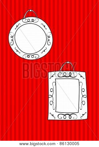 Hand drawn vector decorative frames set