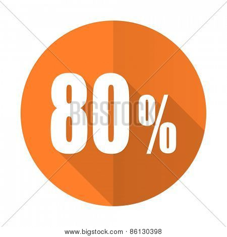 80 percent orange flat icon sale sign