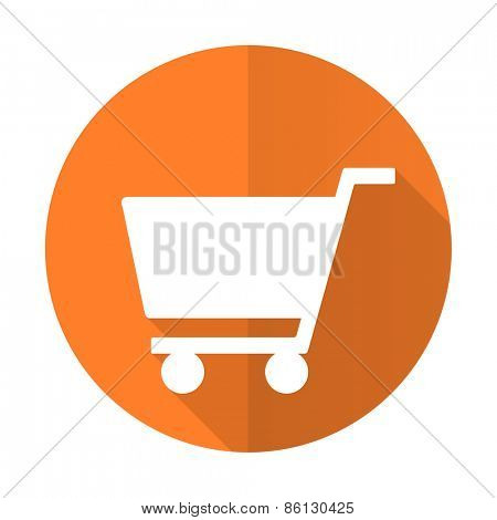 cart orange flat icon shop sign