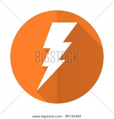 bolt orange flat icon flash sign