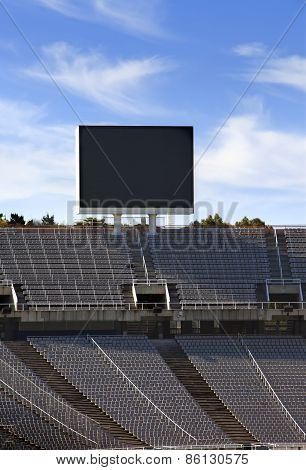 Board above empty tribunes on Barcelona Olympic Stadium on May 10 2010 in