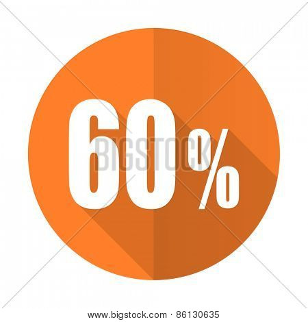 60 percent orange flat icon sale sign