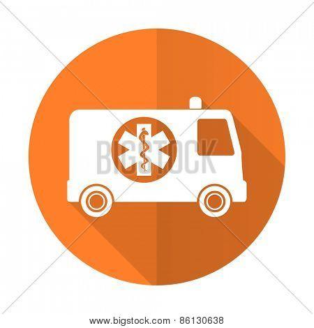 ambulance orange flat icon