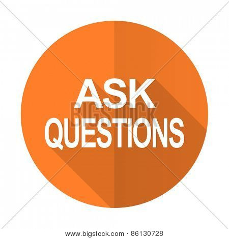 ask questions orange flat icon
