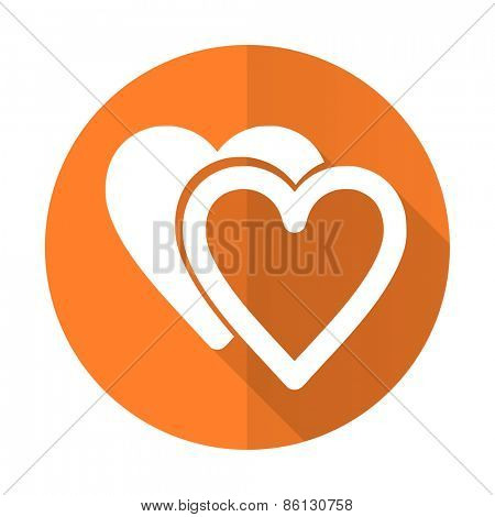 love orange flat icon sign hearts symbol