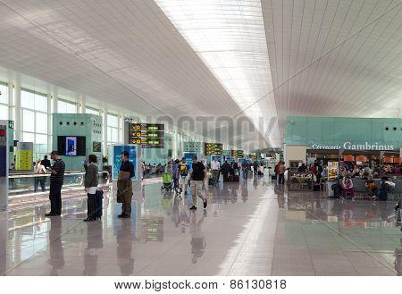 People wait for flight on May 9 2010 in Barcelona Spain.