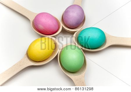 Colored Easter Eggs In Circle Isolated On White