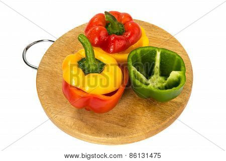Paprika Of Different Color On A Board