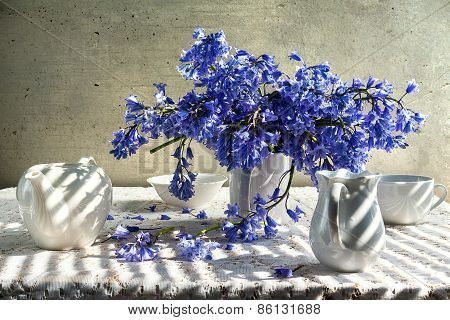 Still Life Bouquet Blue Tones White Crockery