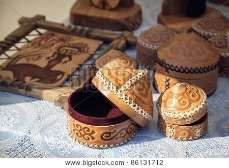 Kazakh Ethnic Shoes In The Market