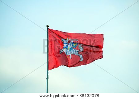 Lithuanian Historical Flag Knight On The Red Background