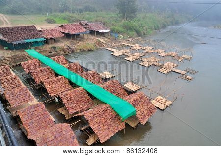 Restaurant Bamboo Raft On River On Pai River Maehongson Thailand