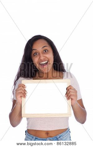 Happy Young Woman Holding Empty Small White Board