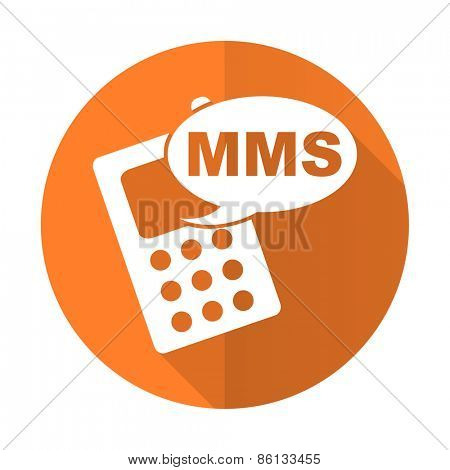 mms orange flat icon phone sign