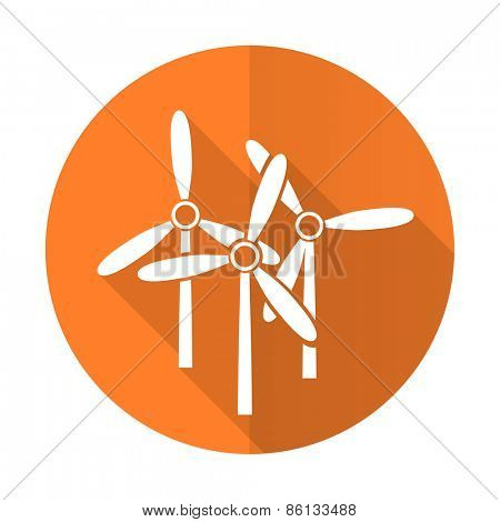 windmill orange flat icon renewable energy sign