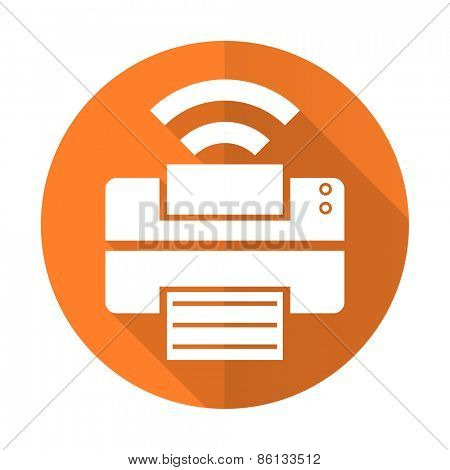 printer orange flat icon wireless print sign