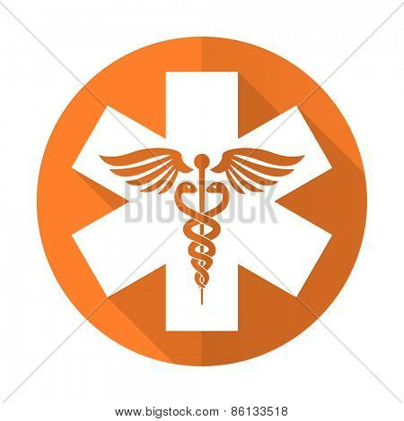 emergency orange flat icon hospital sign