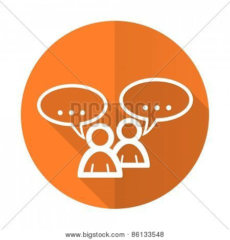forum orange flat icon chat symbol bubble sign