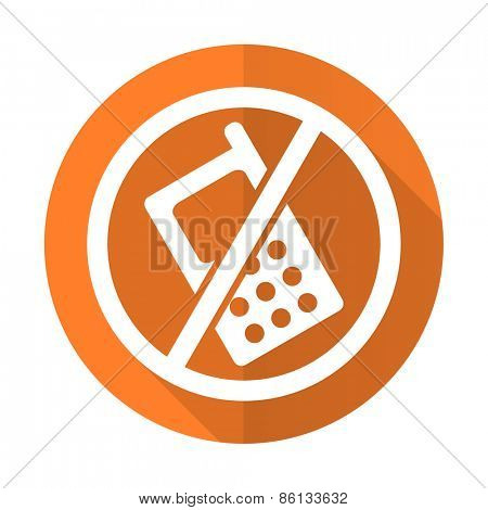 no phone orange flat icon no calls sign