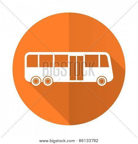 bus orange flat icon public transport sign
