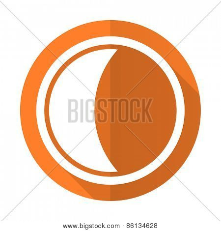 moon orange flat icon sleep sign