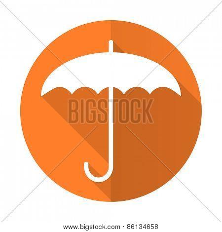 umbrella orange flat icon protection sign