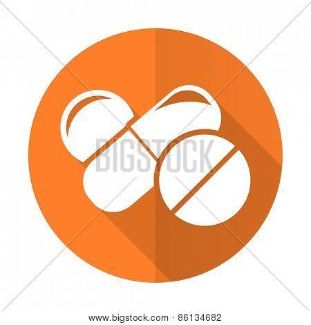 medicine orange flat icon drugs symbol pills sign