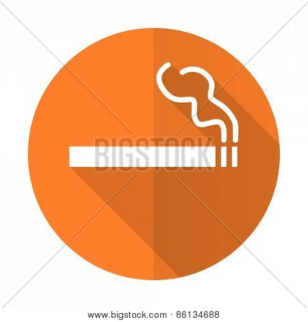 cigarette orange flat icon nicotine sign