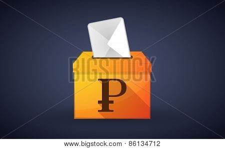 Ballot Box With A Vote And A Ruble Sign