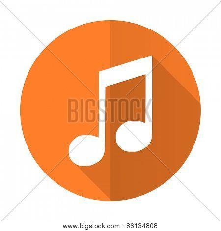 music orange flat icon note sign