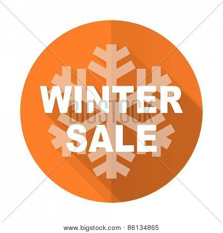 winter sale orange flat icon