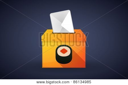 Ballot Box With A Vote And A Sushi