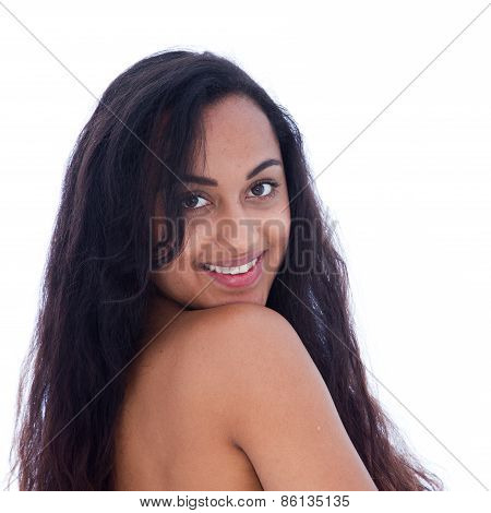 Bare Young Woman With Brown Skin Smiling At Camera