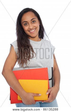 Smiling Indian Girl Carrying Books And Documents