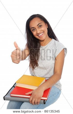 Sitting Young Woman With Books Showing Thumbs Up