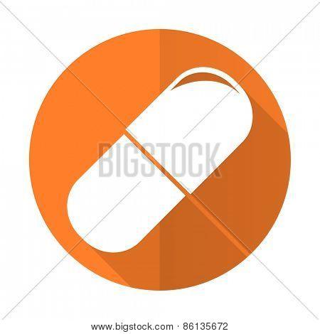 drugs orange flat icon medical sign