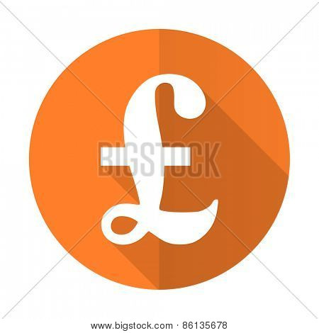 pound orange flat icon