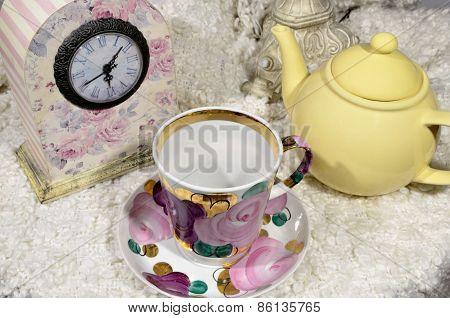Pot, Cup And Clock