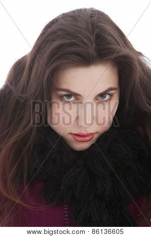 Woman In Winter Outfit Looking At Camera