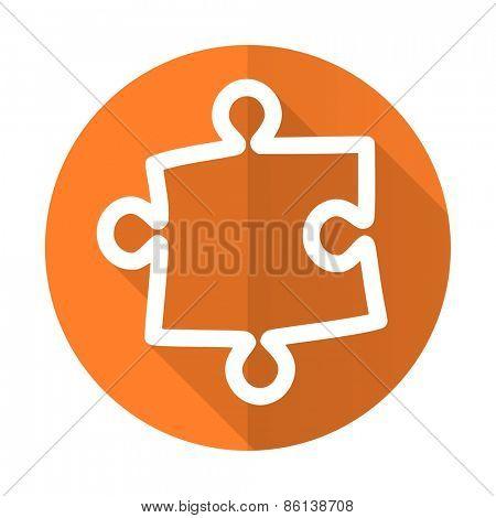 puzzle orange flat icon