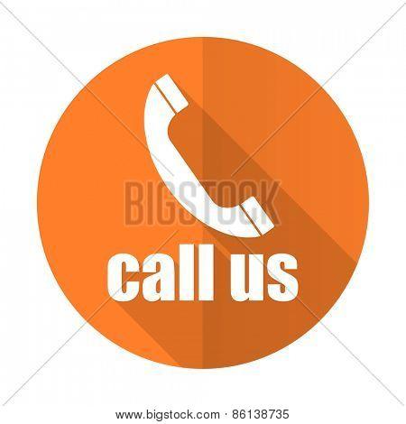 call us orange flat icon phone sign